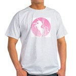 Retro Pink Unicorn Ash Grey T-Shirt