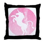 Retro Pink Unicorn Throw Pillow