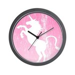 Retro Pink Unicorn Wall Clock
