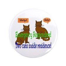 "Two Cat Alert 3.5"" Button"