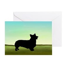 corgi in a field Greeting Card