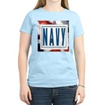 Navy Women's Pink T-Shirt
