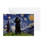 Starry / Std Poodle(bl) Greeting Card