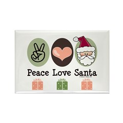 Peace Love Santa Christmas Rectangle Magnet