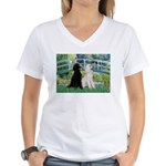 Bridge / Std Poodle (pr) Women's V-Neck T-Shirt