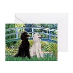 Bridge / Std Poodle (pr) Greeting Cards (Pk of 10)