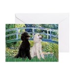 Bridge / Std Poodle (pr) Greeting Card