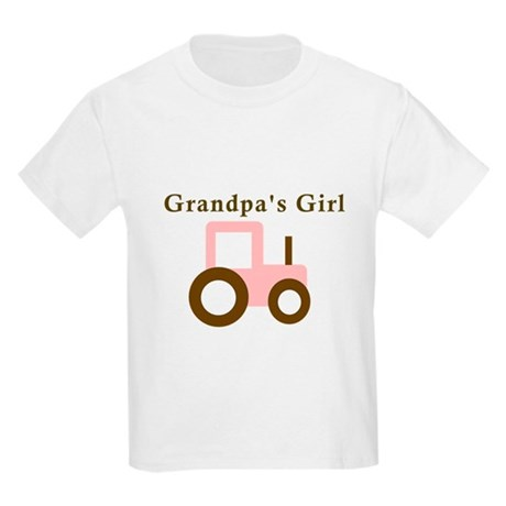 Grandpa's Girl - Pink Tractor Kids Light T-Shirt