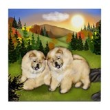 CREAM CHOW CHOW DOGS Winter Sunset Tile Coaster