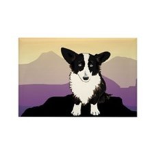 Purple Mountain Corgi Rectangle Magnet