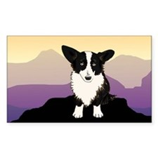 Purple Mountain Corgi Rectangle Decal