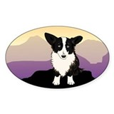 Purple Mountain Corgi Oval Decal