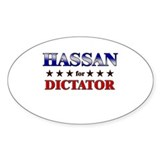 HASSAN for dictator Oval Decal