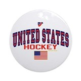 US(USA) United States Hockey Ornament (Round)