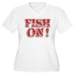 Fish On! Women's Plus Size V-Neck T-Shirt