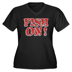 Fish On! Women's Plus Size V-Neck Dark T-Shirt