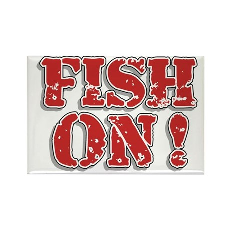 Fish On! Rectangle Magnet (100 pack)