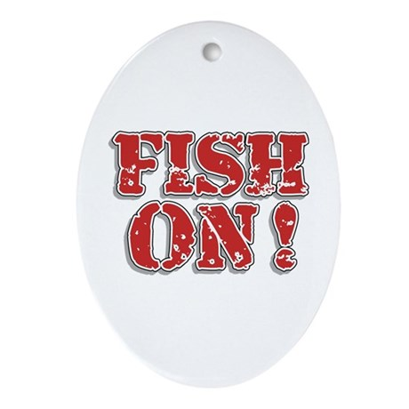 Fish On! Oval Ornament