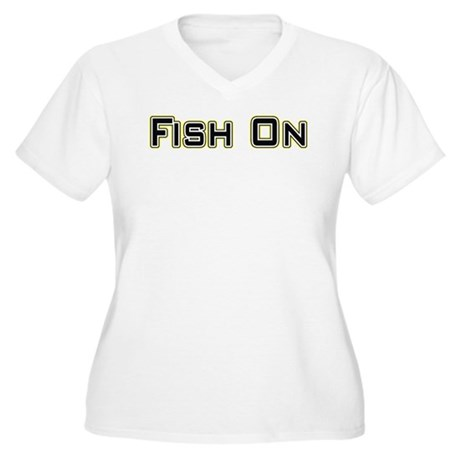 Fish On (2) Women's Plus Size V-Neck T-Shirt