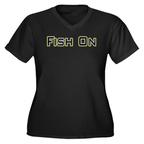 Fish On (2) Women's Plus Size V-Neck Dark T-Shirt