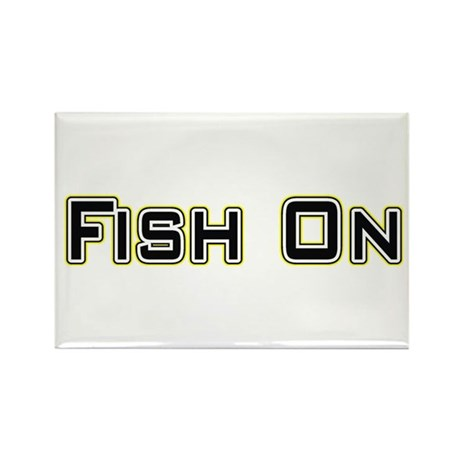 Fish On (2) Rectangle Magnet (100 pack)