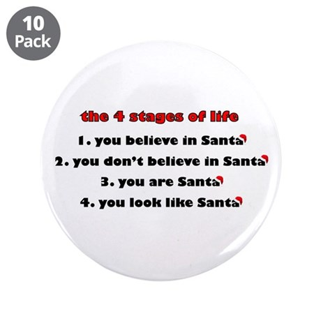 "Santa Stages 3.5"" Button (10 pack)"
