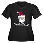 Santa Baby Christmas Women's Plus Size V-Neck Dark