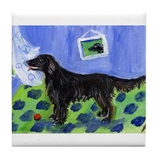 FLAT COATED RETRIEVER dog Sun Tile Coaster