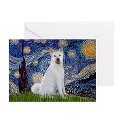 Starry Night - Akita 2 Greeting Cards (Pk of 10)
