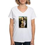 Mona / Akita (br&w) Women's V-Neck T-Shirt
