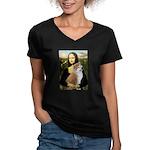 Mona / Akita (br&w) Women's V-Neck Dark T-Shirt