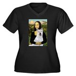 MonaLisa-AKita2 Women's Plus Size V-Neck Dark T-Sh