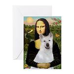 MonaLisa-AKita2 Greeting Card