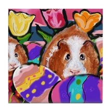 Guinea Pig Easter Eggs Tile Coaster
