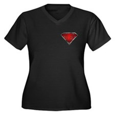 Super Villain Women's Plus Size V-Neck Dark T-Shir