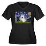 Starry-Am. Eskimo Dog Women's Plus Size V-Neck Dar