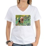 Irises - Aussie Terrier Women's V-Neck T-Shirt