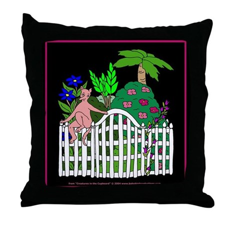 Goblin in the Garden Throw Pillow