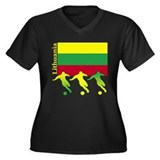 Lithuania Soccer Women's Plus Size V-Neck Dark T-S