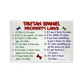 Tibetan Spaniel Property Laws 2 Rectangle Magnet