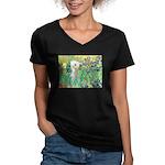 Irises /Bedlington T Women's V-Neck Dark T-Shirt