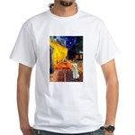 Cafe / Bedlington T White T-Shirt