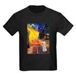 Cafe / Bedlington T Kids Dark T-Shirt