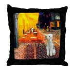 Cafe / Bedlington T Throw Pillow