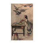Warwick Goble's The Seven Doves Sticker (Rectangul
