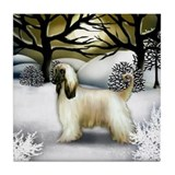 AFGHAN HOUND DOG WINTER SUNSET Tile Coaster