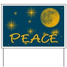 PEACE with Starry Night Sky Lawn Sign