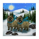 CAIRN TERRIER DOGS WINTER DAY Tile Coaster
