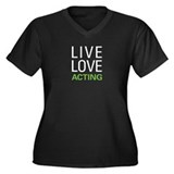 Live Love Acting Women's Plus Size V-Neck Dark T-S