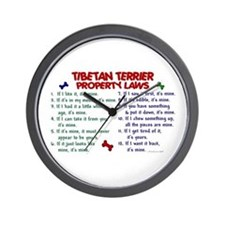 Tibetan Terrier Property Laws 2 Wall Clock